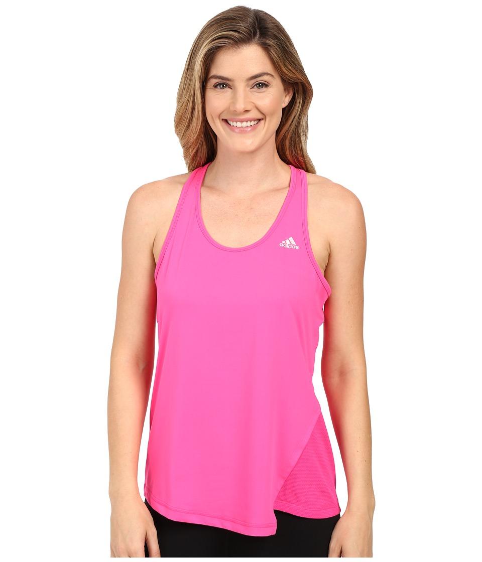 adidas - Clima Studio Split Tank Top (Shock Pink/Matte Silver) Women's Sleeveless