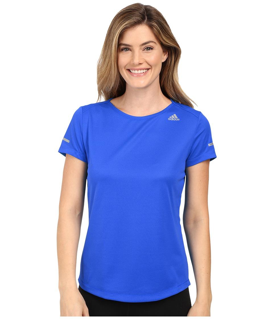 adidas - Run Short Sleeve Tee (Shock Blue) Women's Short Sleeve Pullover