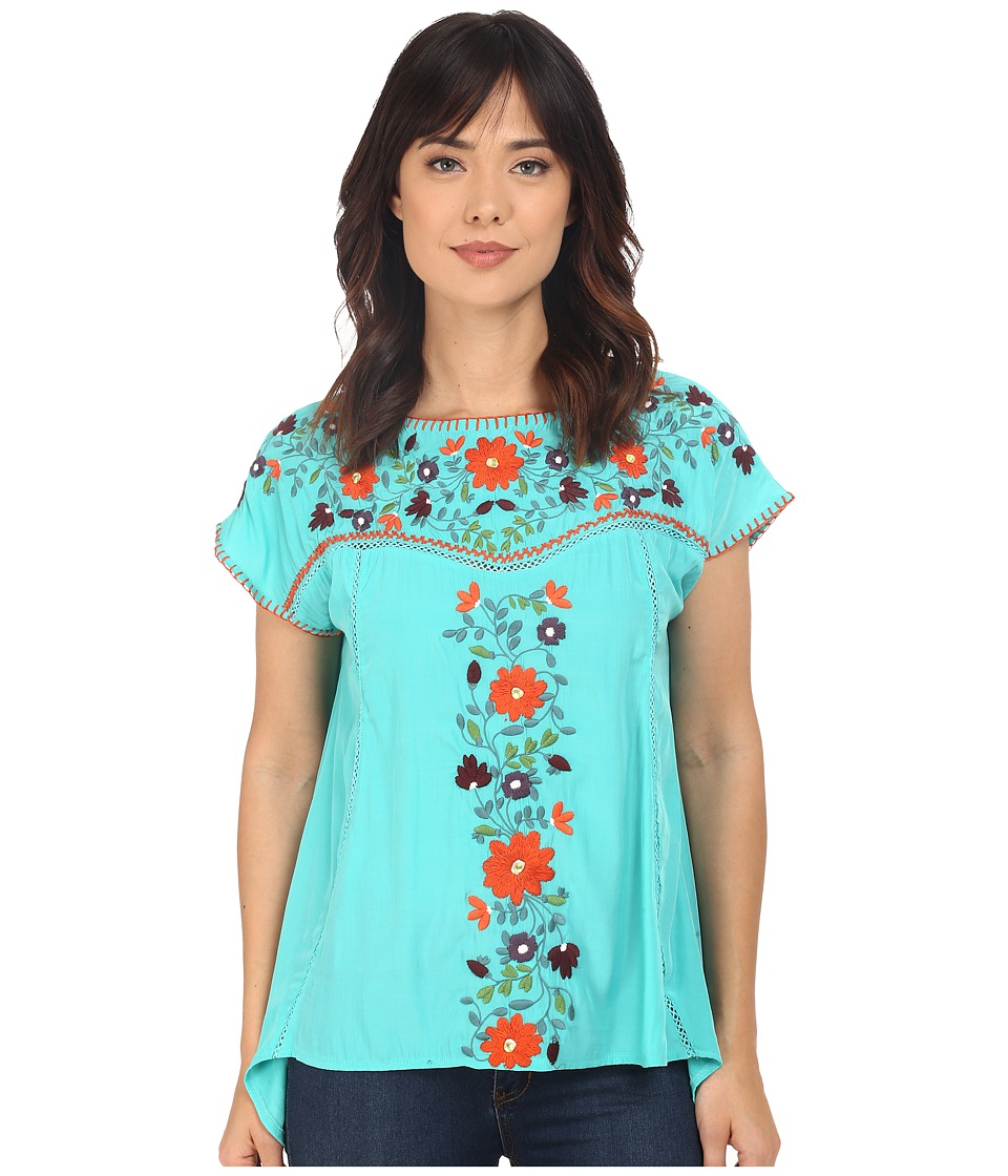 Double D Ranchwear - Mercado Top (Turquesa) Women's Blouse