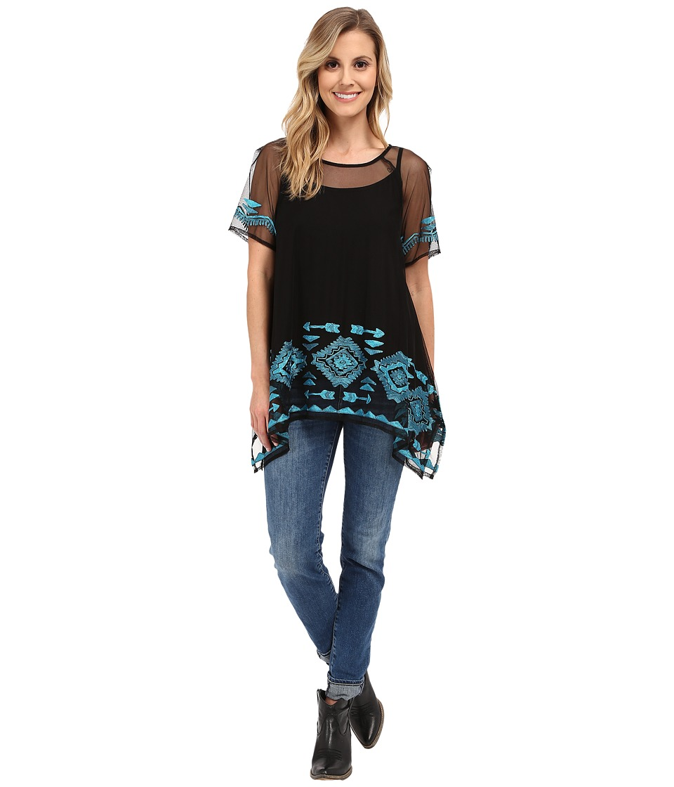 Double D Ranchwear - Churros Top (Black) Women's Clothing