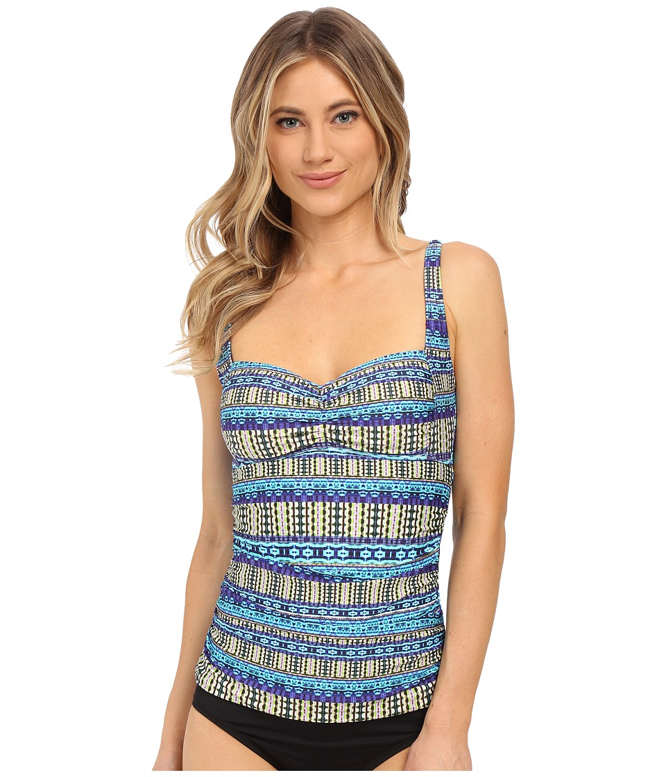 La Blanca - Marrakesh Over the Shoulder Tankini (Turquoise) Women's Swimwear