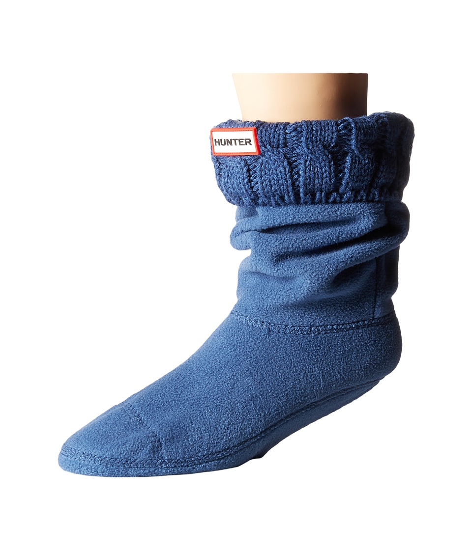 Hunter - 6 Stitch Cable Boot Sock - Short (Tarp Blue) Women's Crew Cut Socks Shoes