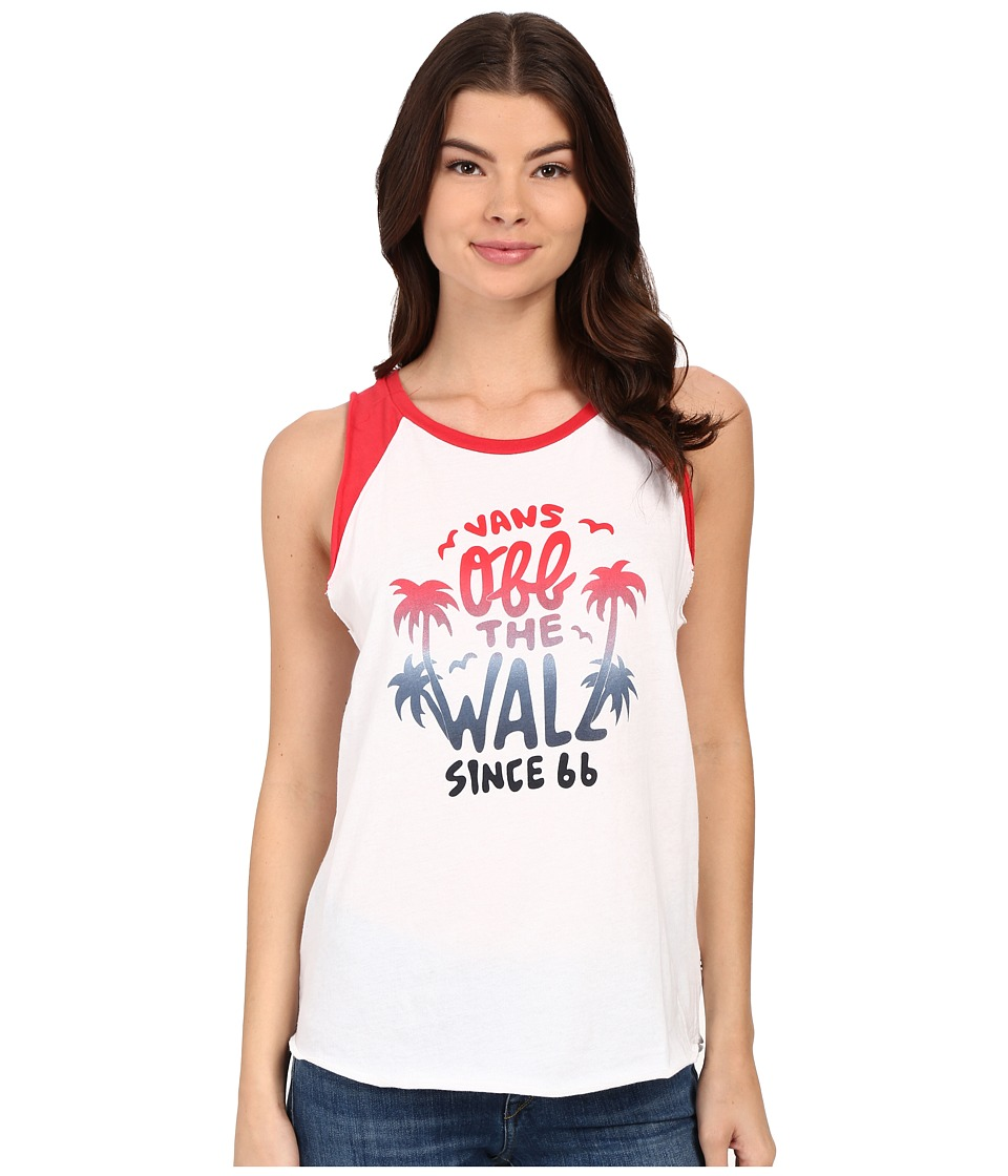 Vans - Palm Lock Top (White/Lollipop) Women's Sleeveless