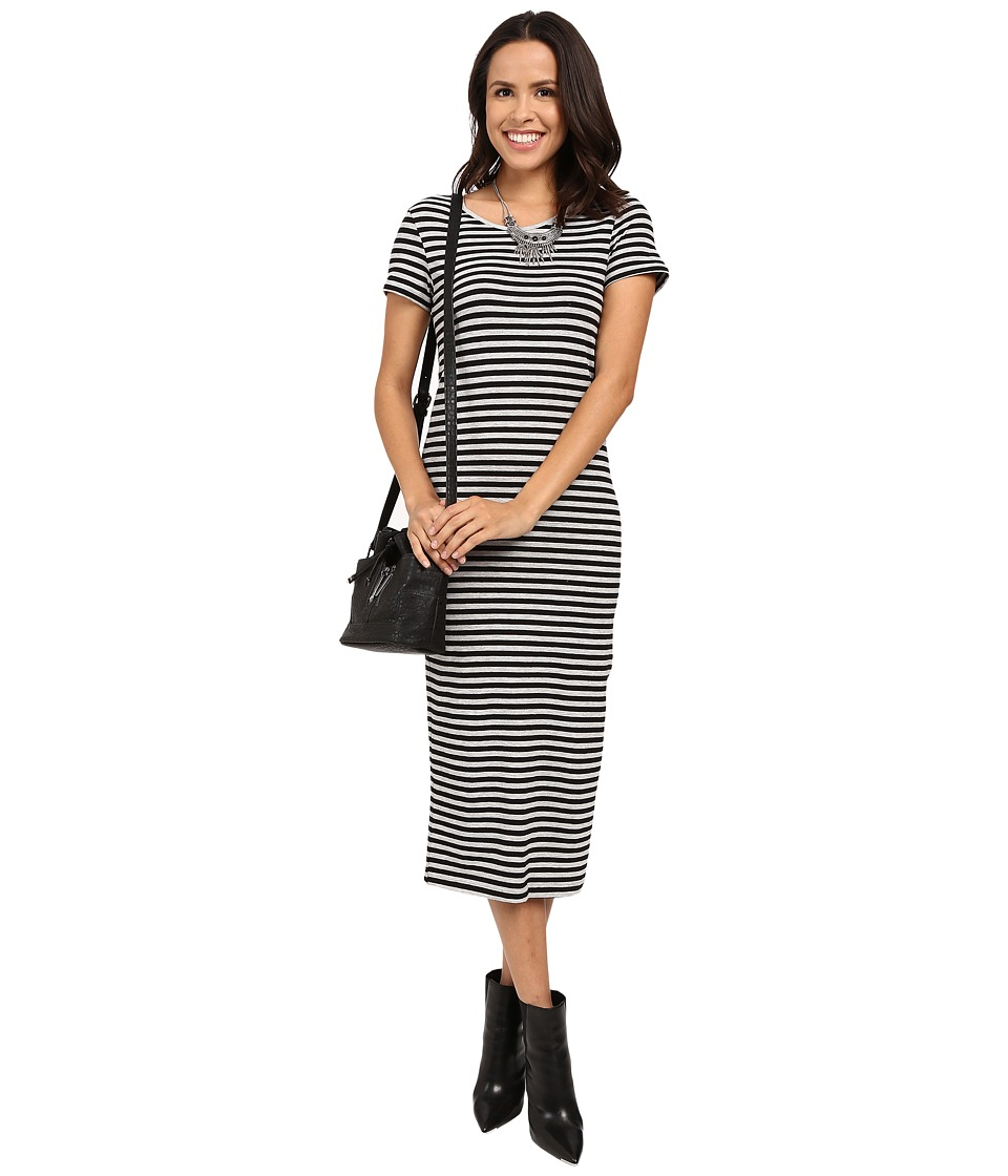 ONLY - Abbie Stripe Short Sleeve Calf Dress (Black/Light Grey Melange Wide Striped) Women's Dress