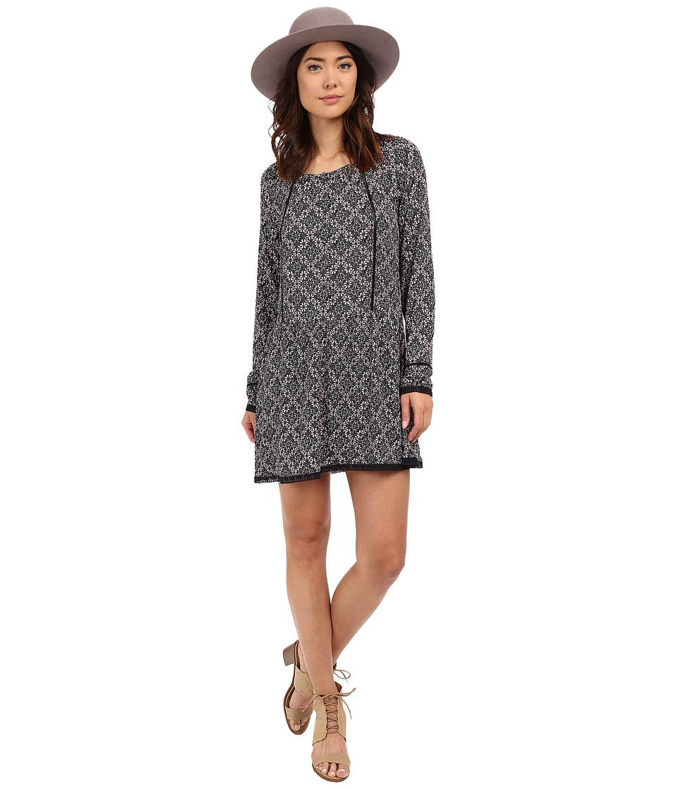 ONLY - Nena Long Sleeve Lace All Over Print Dress (Night Sky) Women's Dress