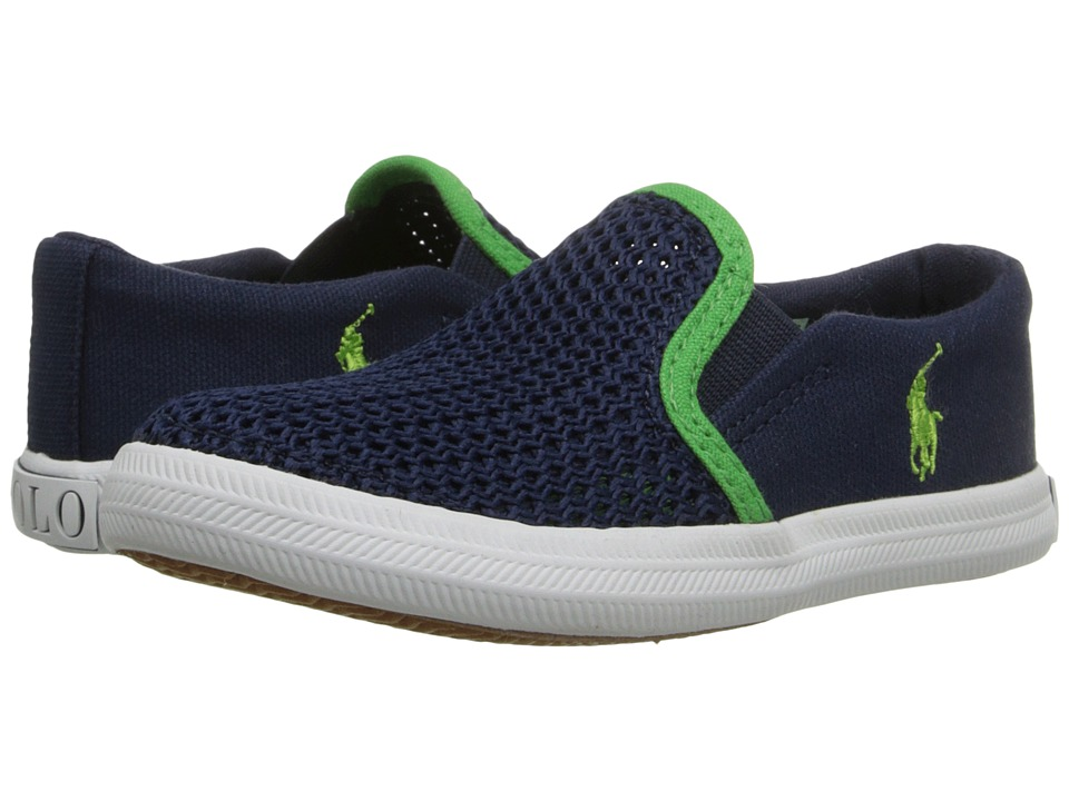 Polo Ralph Lauren Kids - Benton (Toddler) (Navy Canvas/Mesh/Green) Boys Shoes