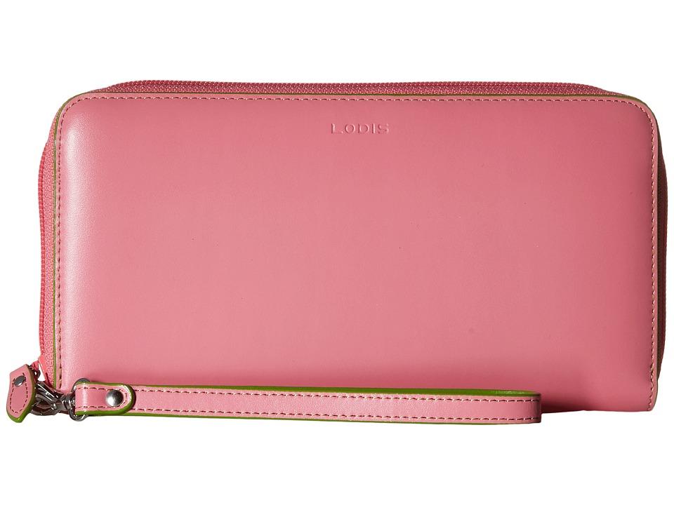 Lodis Accessories - Audrey Vera Wristlet Wallet (Pink/Kiwi) Wallet Handbags