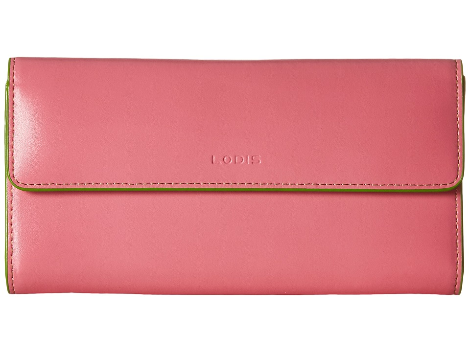 Lodis Accessories - Audrey Checkbook Clutch (Pink/Kiwi) Wallet Handbags