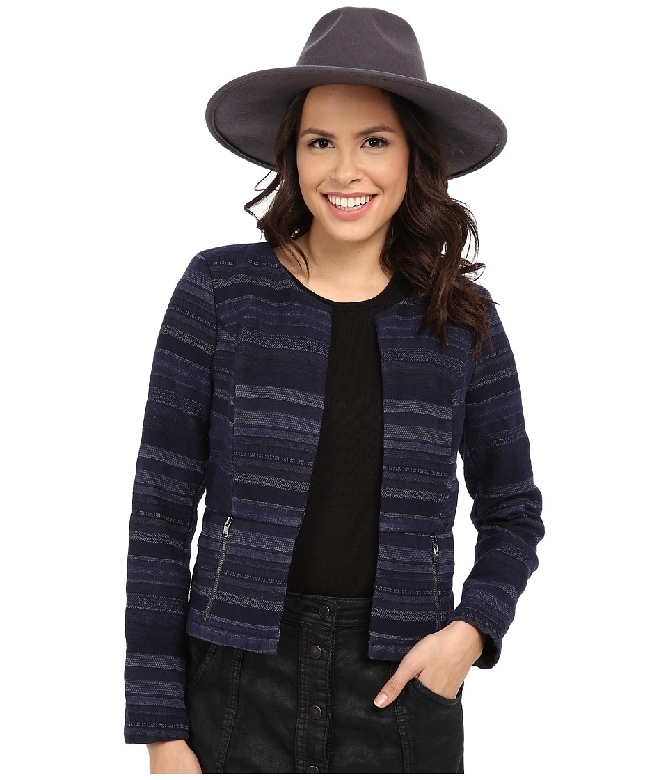 ONLY - Kimmie Cropped Jacquard Jacket (Insignia Blue) Women's Jacket