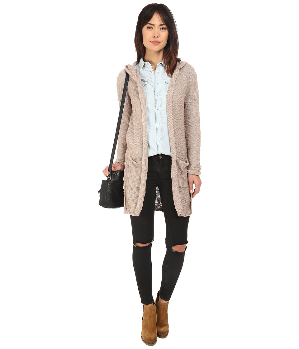 ONLY - Wish Long Sleeve Hood Long Cardigan (Simply Taupe) Women's Sweater