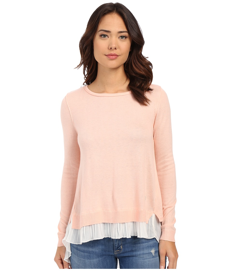 ONLY - Lynn Plisse Long Sleeve Pullover (Peach Blush) Women's Long Sleeve Pullover