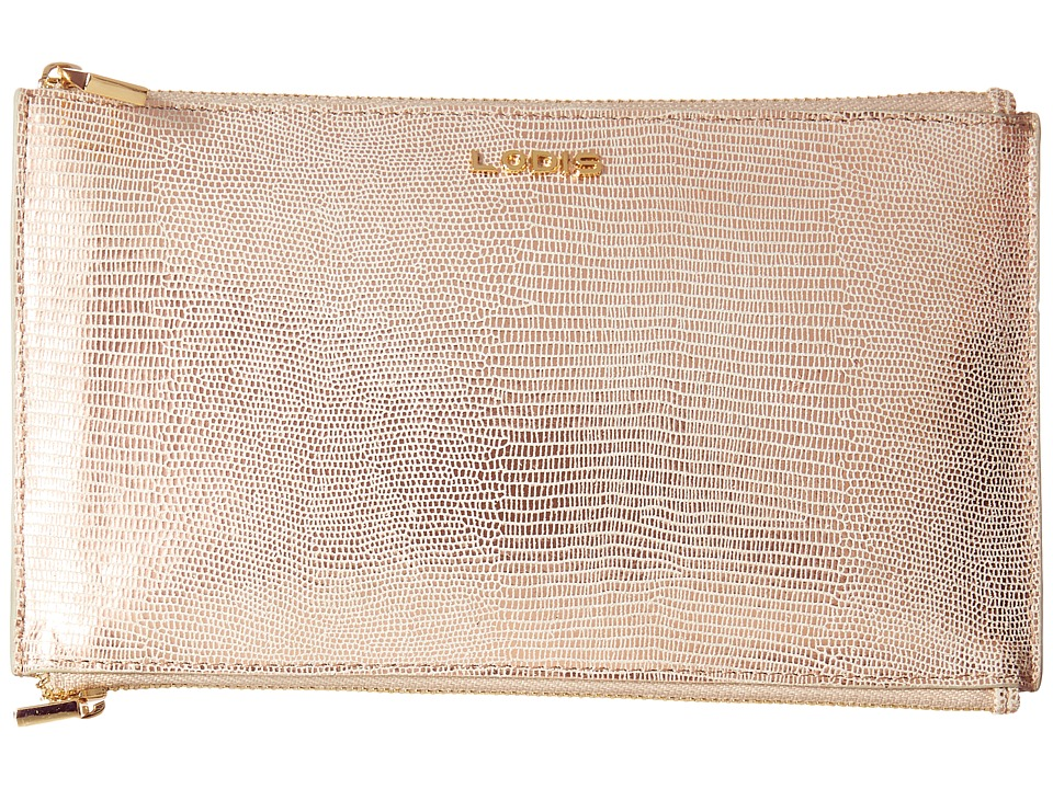 Lodis Accessories - Sophia Glamorous Lani Double Zip Pouch (Rose Gold) Wallet