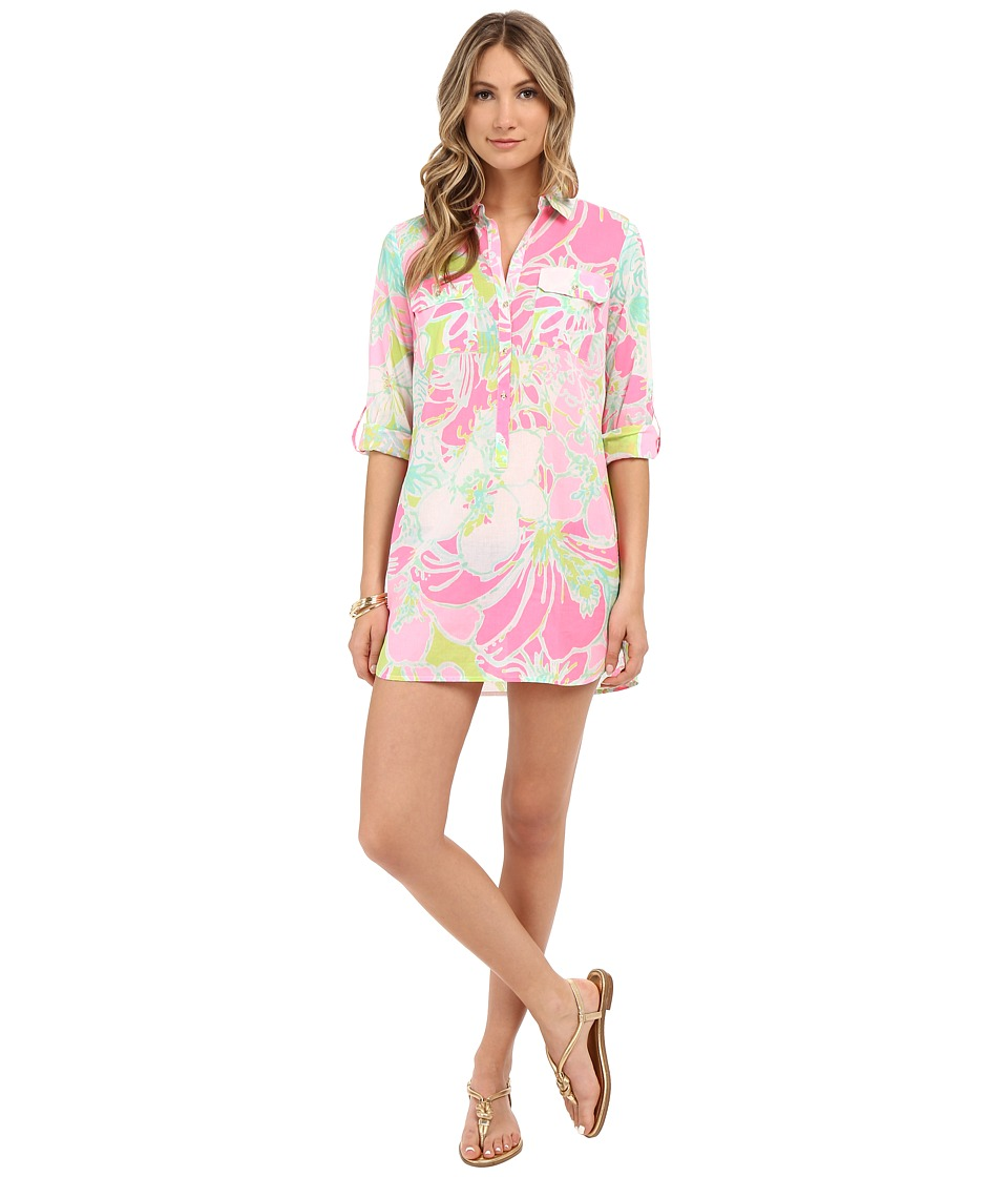 Lilly Pulitzer - Captiva Tunic (Flamingo Pink Don't Give A Cluck) Women's Dress