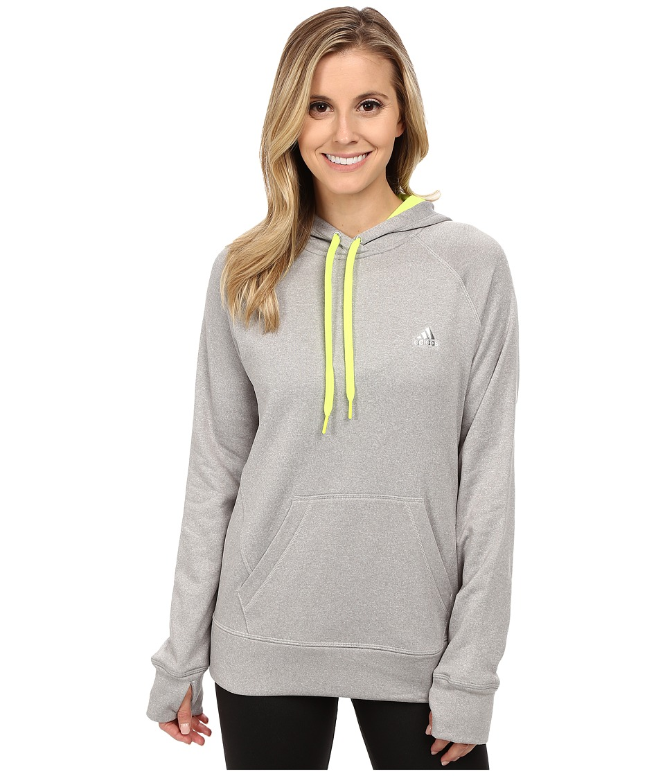 adidas - Ultimate Pullover Hoodie (Medium Grey Solid Heather/Solar Yellow) Women's Sweatshirt