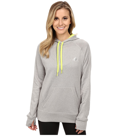 adidas - Ultimate Pullover Hoodie (Medium Grey Solid Heather/Solar Yellow) Women
