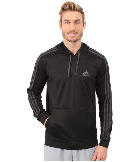 adidas - Go-To Performance 3S Fleece Hoodie (Black/Dark Grey Heather Solid Grey) Men