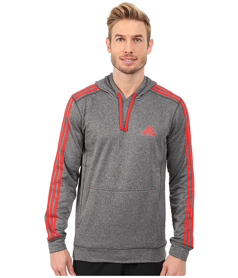 adidas - Go-To Performance 3S Fleece Hoodie (Dark Grey Heather Solid Grey/Vivid Red) Men