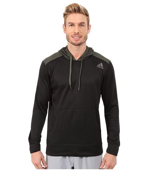 adidas - Ultimate Fleece Pullover Hoodie (Black/Base Green) Men's Sweatshirt