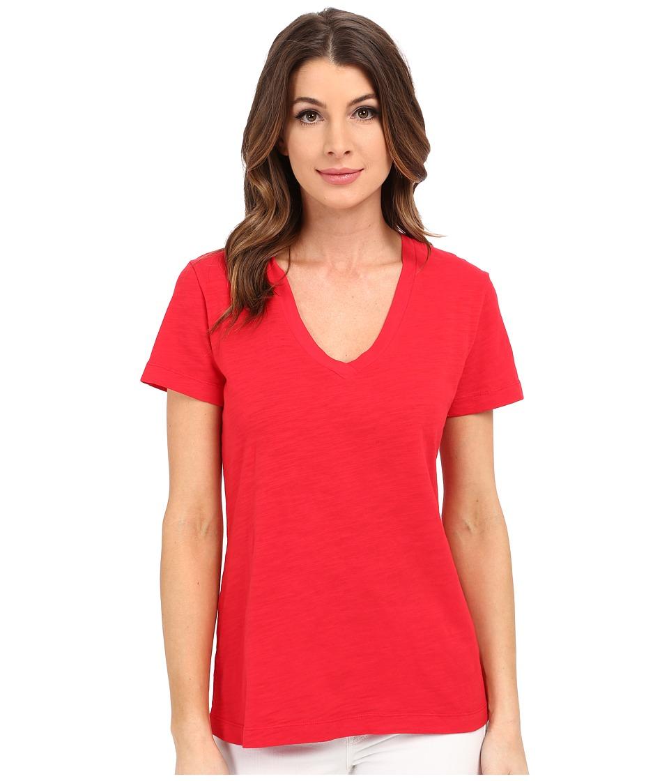 Mod-o-doc - Slub Jersey Short Sleeve V-Neck Tee (Zinnia) Women's Short Sleeve Pullover