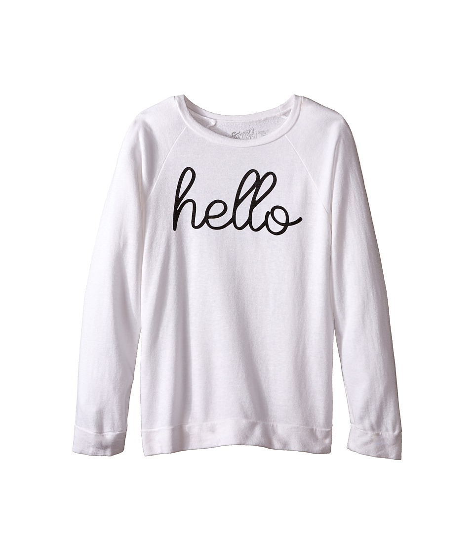 The Original Retro Brand Kids - Hello Sweatshirt (Big Kids) (Quad White) Girl's Sweatshirt