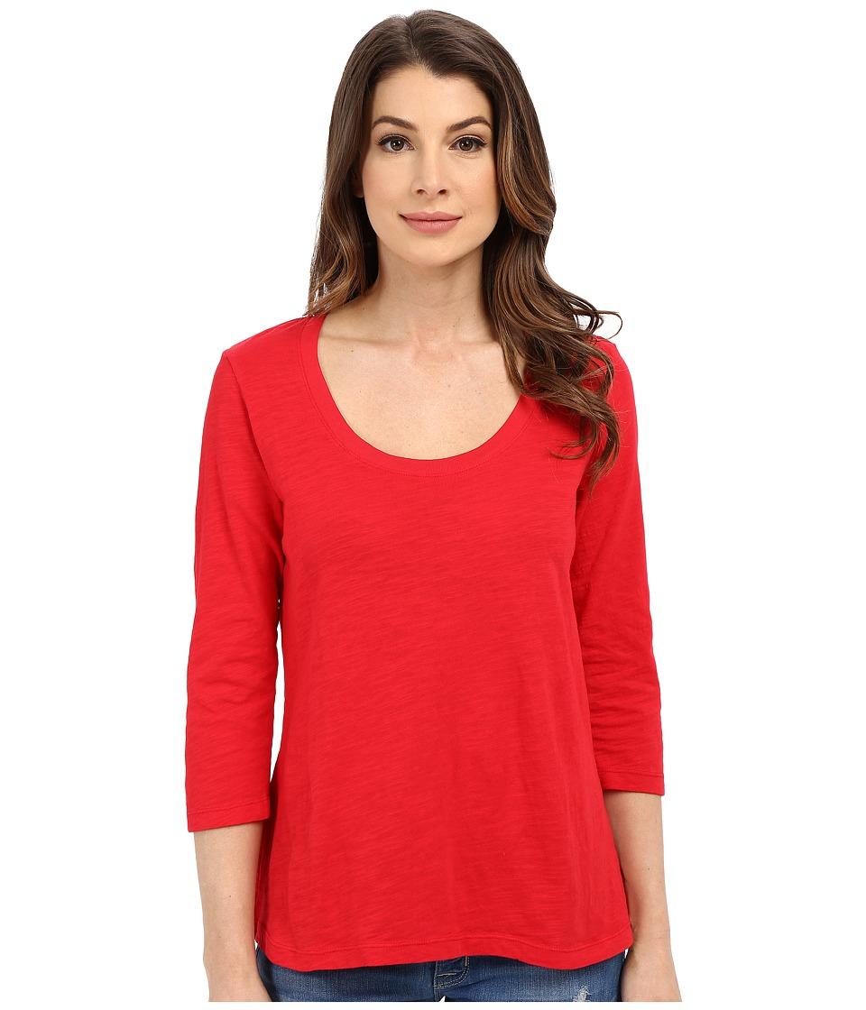 Mod-o-doc - Slub Jersey 3/4 Sleeve Scoopneck Tee (Zinnia) Women's Long Sleeve Pullover