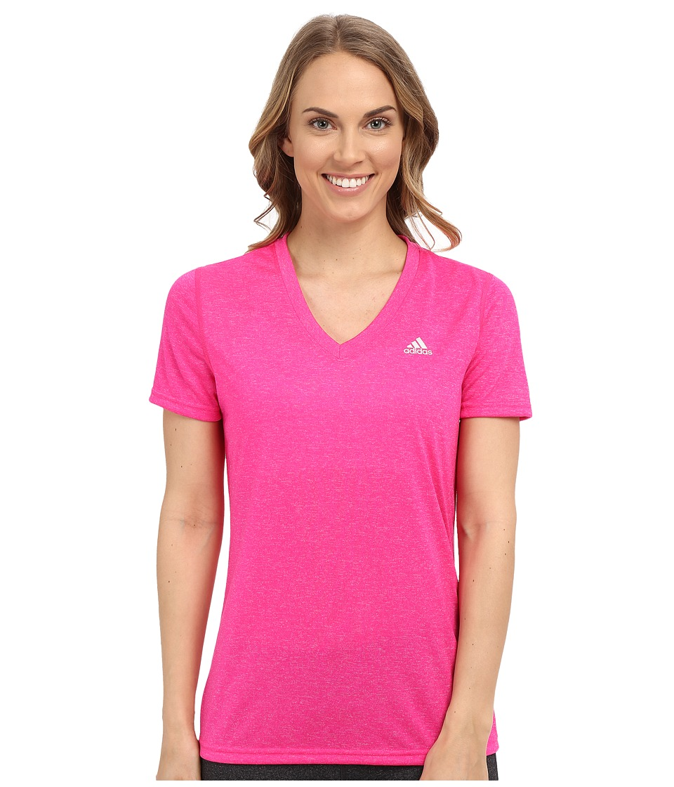 adidas - Ultimate S/S V-Neck Tee (Shock Pink/Matte Silver) Women's T Shirt