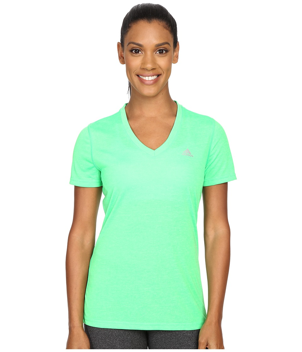 adidas - Ultimate S/S V-Neck Tee (Solar Lime/Matte Silver) Women's T Shirt