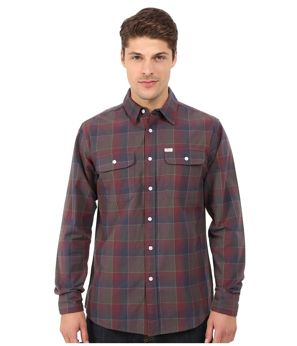 Matix Clothing Company - Wesson Flannel Shirt (Oxblood) Men's Long Sleeve Button Up