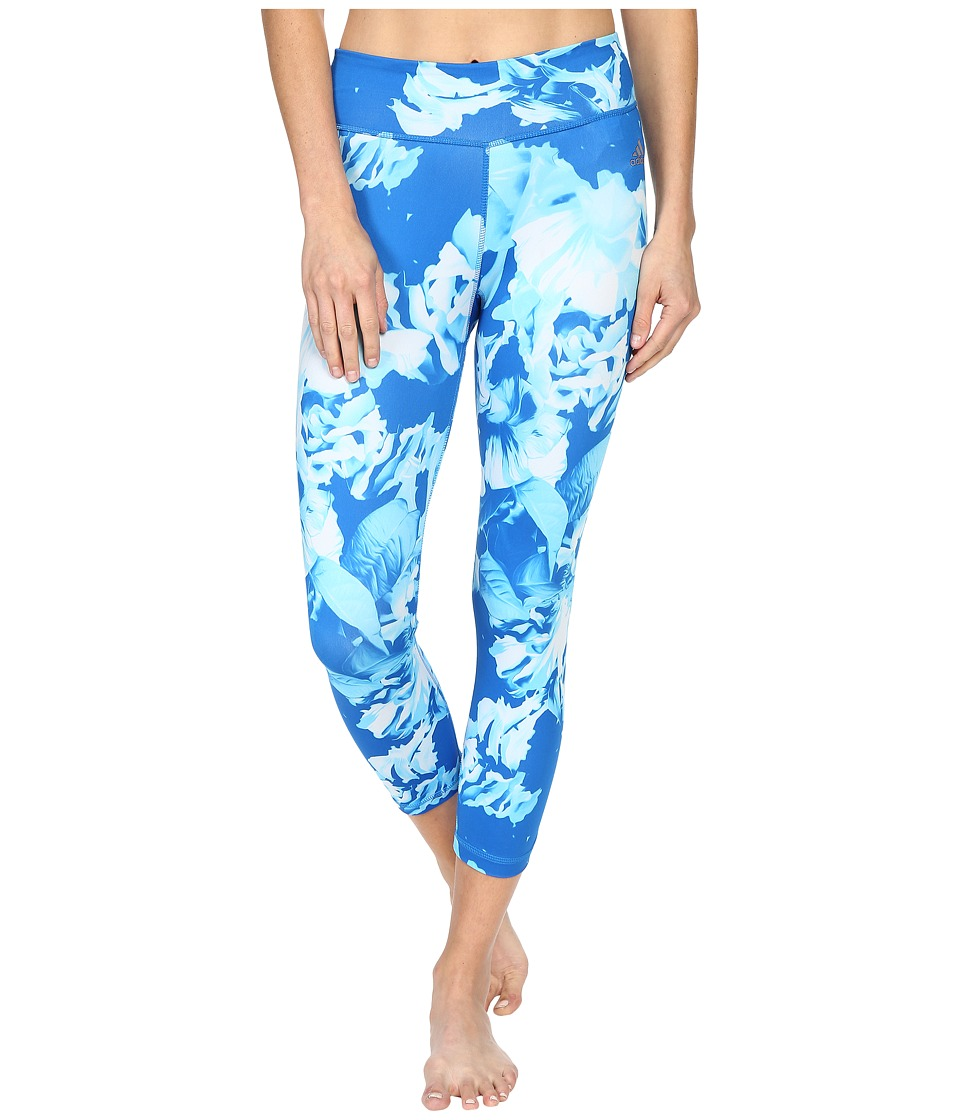 adidas - Clima Studio Mid-Rise 3/4 Tights - Summer Leaves Print (Shock Blue/Print/Matte Silver) Women's Workout