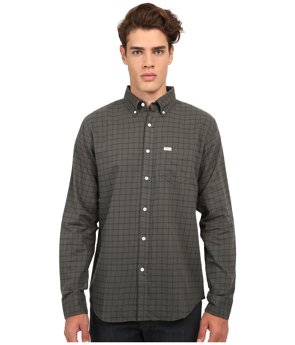 Matix Clothing Company - Gridley Woven Shirt (Army) Men's Long Sleeve Button Up