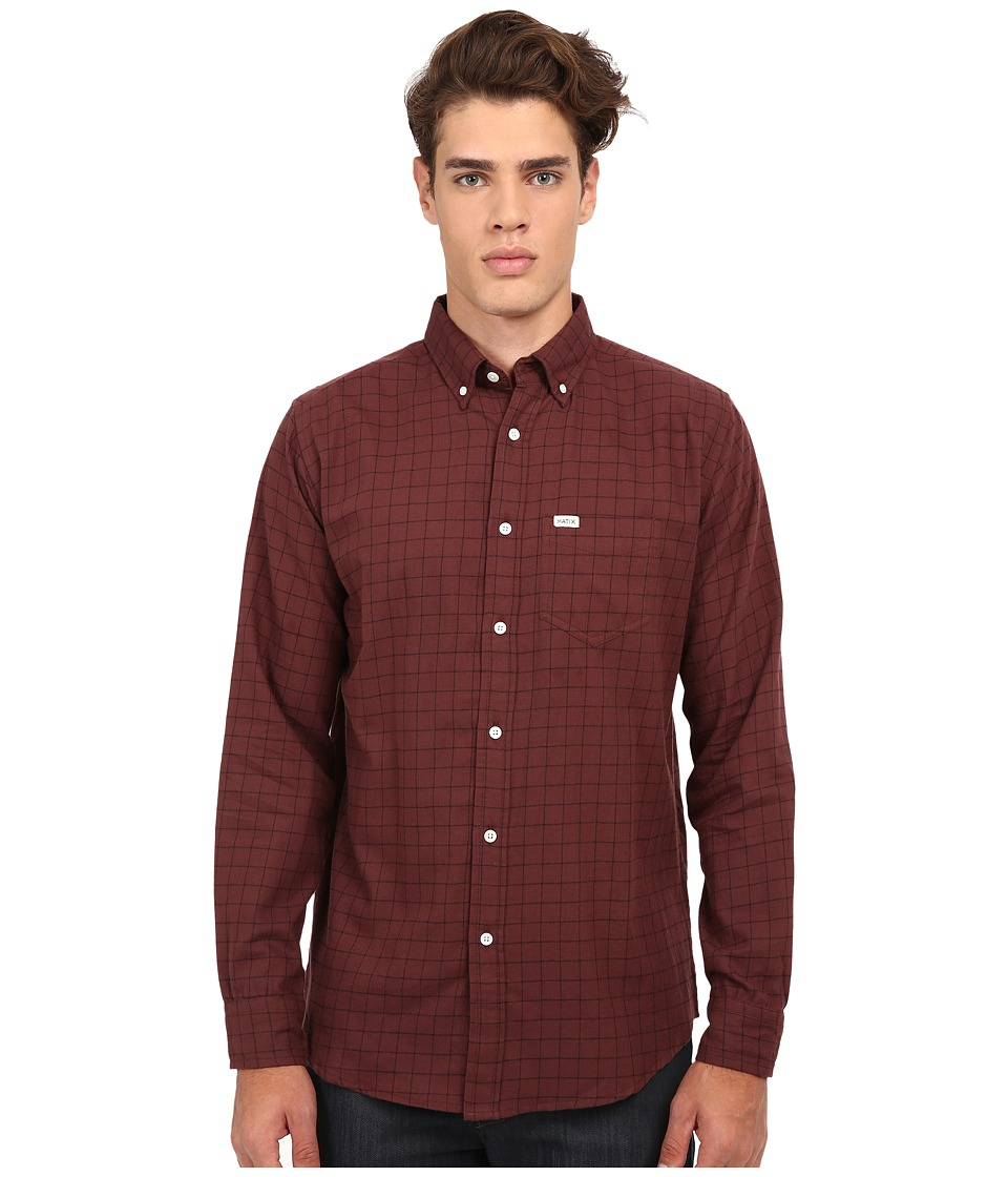 Matix Clothing Company - Gridley Woven Shirt (Oxblood) Men's Long Sleeve Button Up