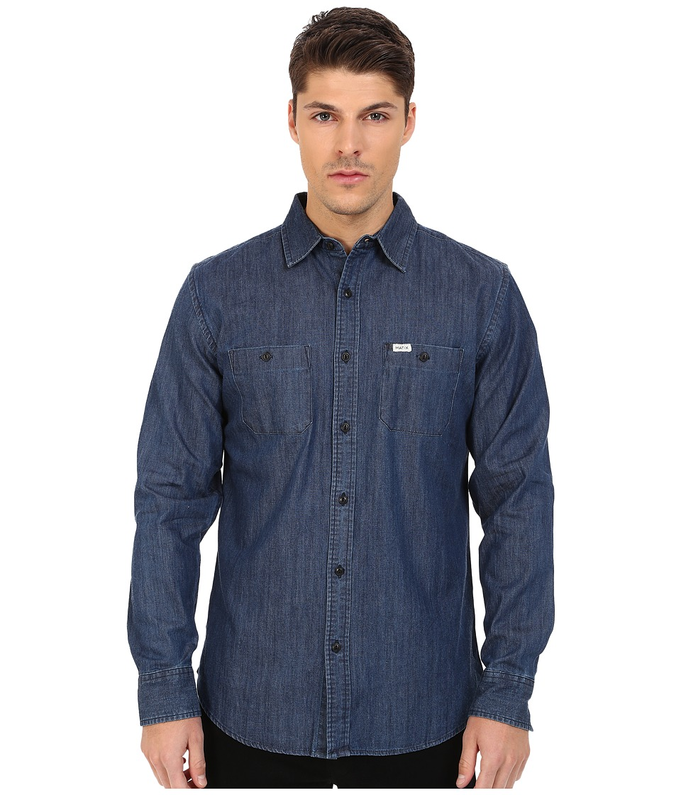 Matix Clothing Company - Landon Woven Top (Indigo) Men's Long Sleeve Button Up
