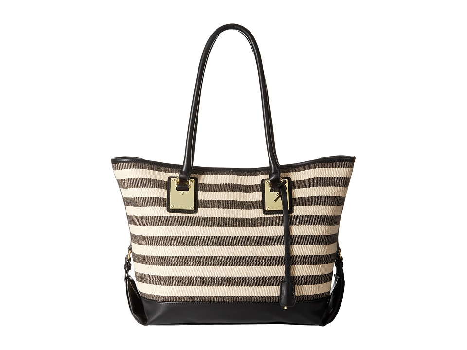 London Fog - Manchester Tote (Black/Stripe Linen) Tote Handbags