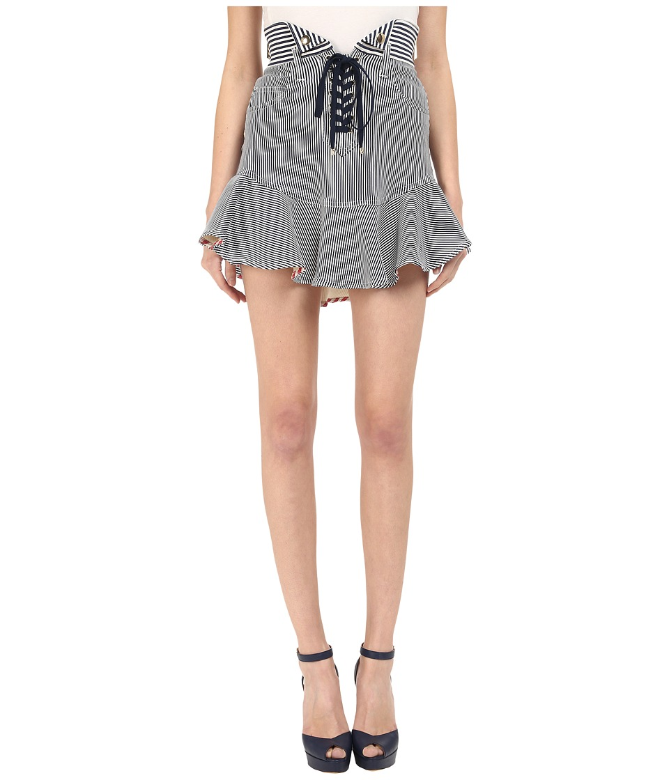 Just Cavalli - Striped Skirt (Off-White/Navy) Women's Skirt