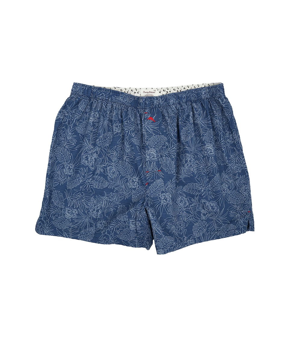 Tommy Bahama - Big Tall Island Washed Cotton Woven Boxer (Tonal Palm/Navy Floral) Men's Underwear