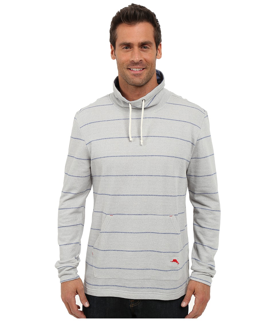 Tommy Bahama - French Terry Pullover Funnel (Heather Blue Stripe) Men's Long Sleeve Pullover