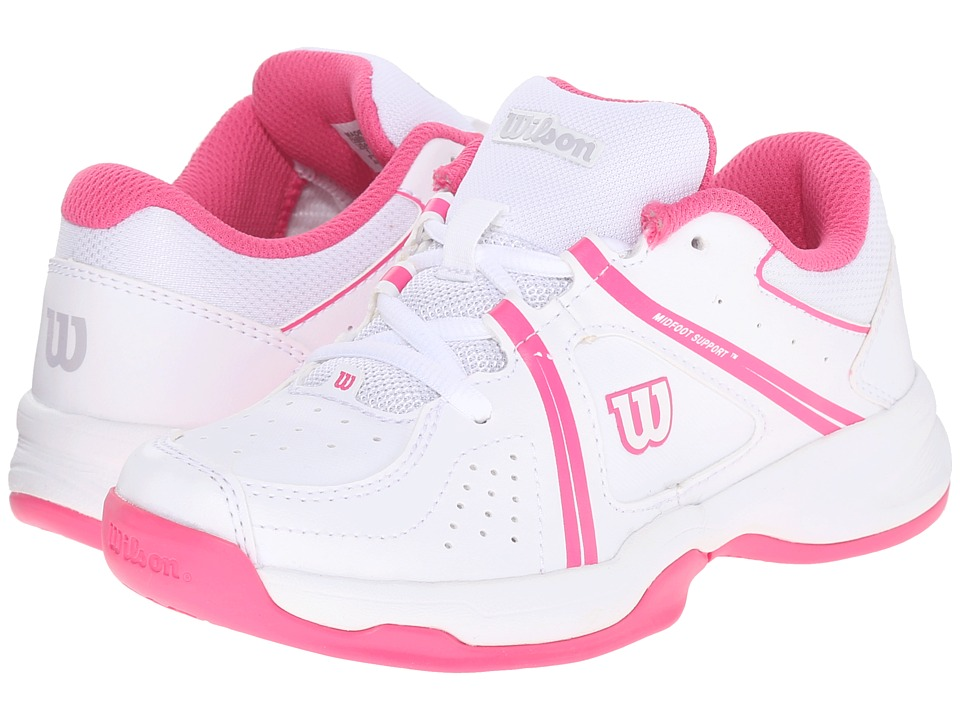 Wilson Kids - Nvision Envy Junior (Little Kid/Big Kid) (White/Fandango Pink) Kids Shoes