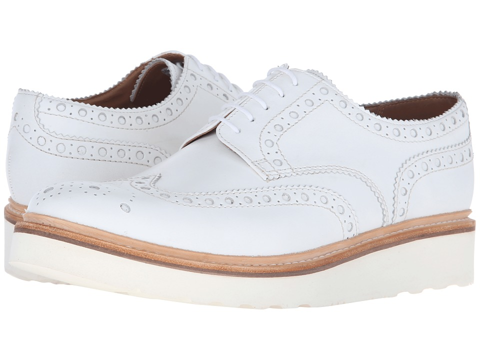 Grenson - Archie V (White Calf) Men's Lace Up Wing Tip Shoes