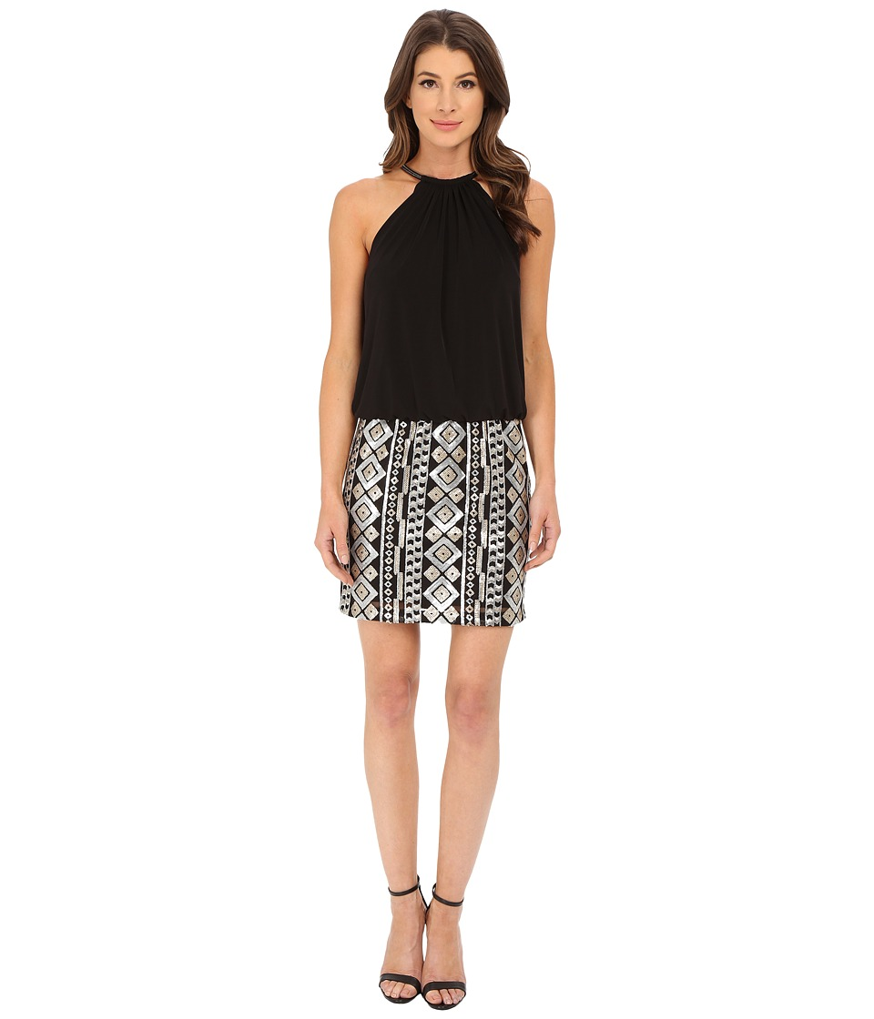 Jessica Simpson - Blouson Bungee Necklace Dress with Emblesshed Skirt (Black) Women's Dress