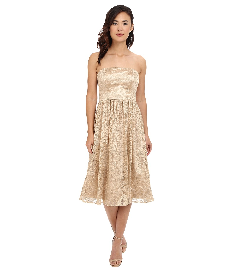 Jessica Simpson - Strapless Embellished Floral Mesh (Gold) Women's Dress