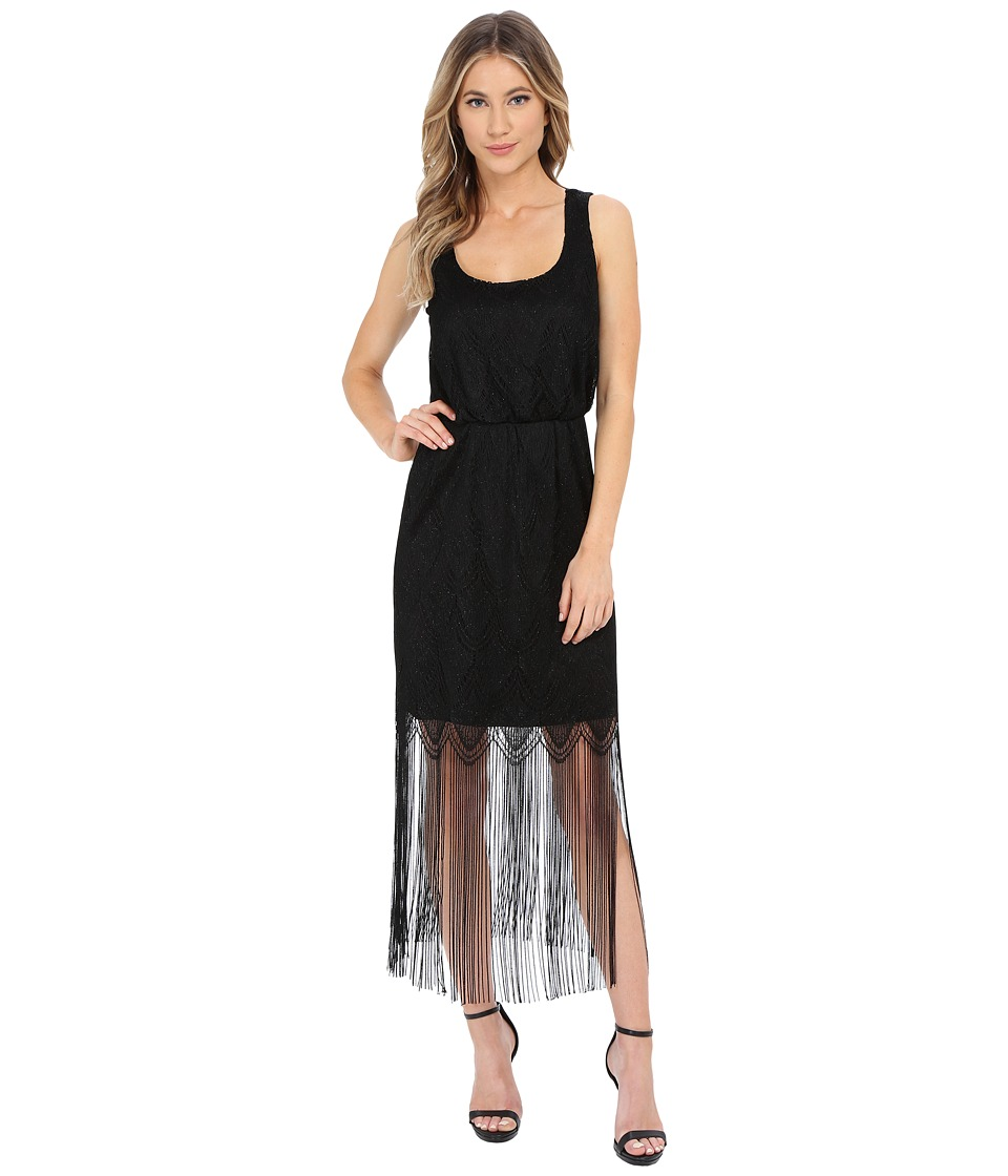 Jessica Simpson Metallic Lace Fringe Dress (Black) Women