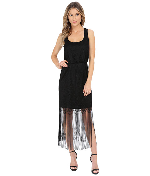 Jessica Simpson - Metallic Lace Fringe Dress (Black) Women's Dress