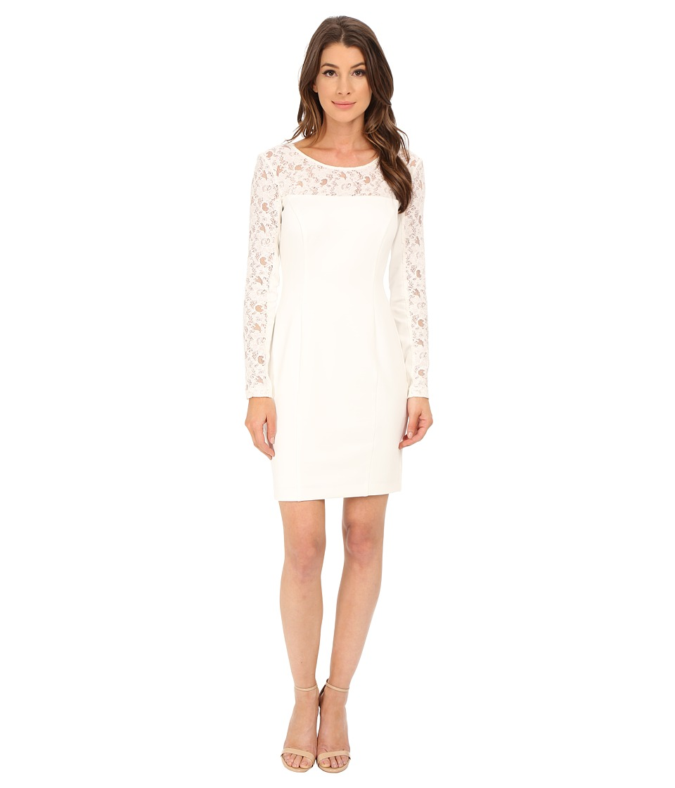Jessica Simpson - Scuba Dress with Lace Long Sleeves (Ivory) Women's Dress