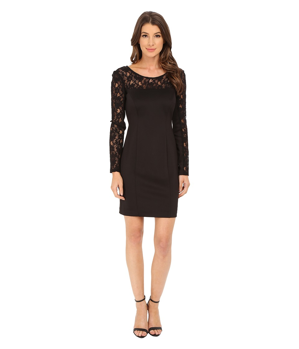 Jessica Simpson - Scuba Dress with Lace Long Sleeves (Black) Women's Dress