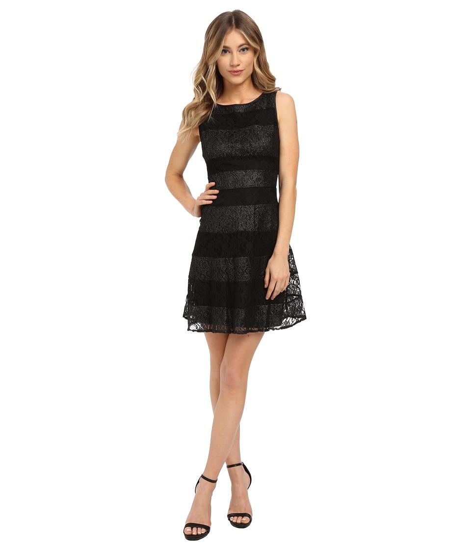Jessica Simpson Lace Color Block Scuba Dress (Black/Silver) Women