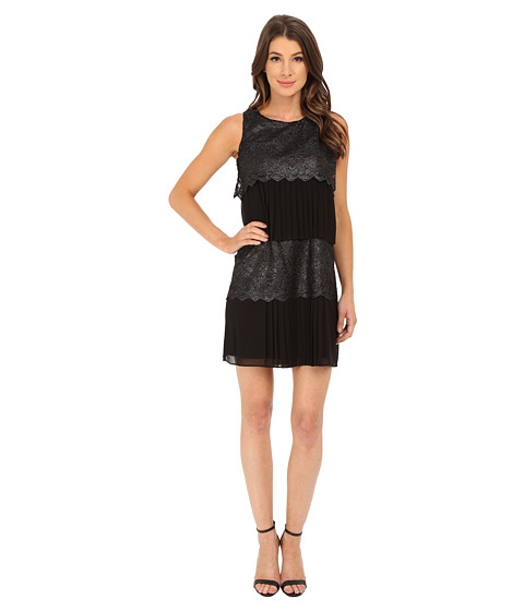 Jessica Simpson - Tier Lace and Chiffon Dress (Black/Silver) Women