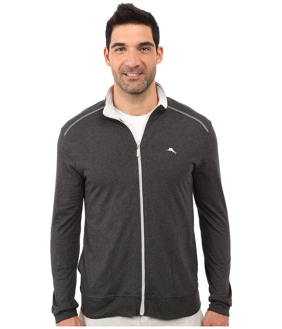 Tommy Bahama - Long Sleeve Full Zip Jacket (Black Heather) Men's Sweatshirt