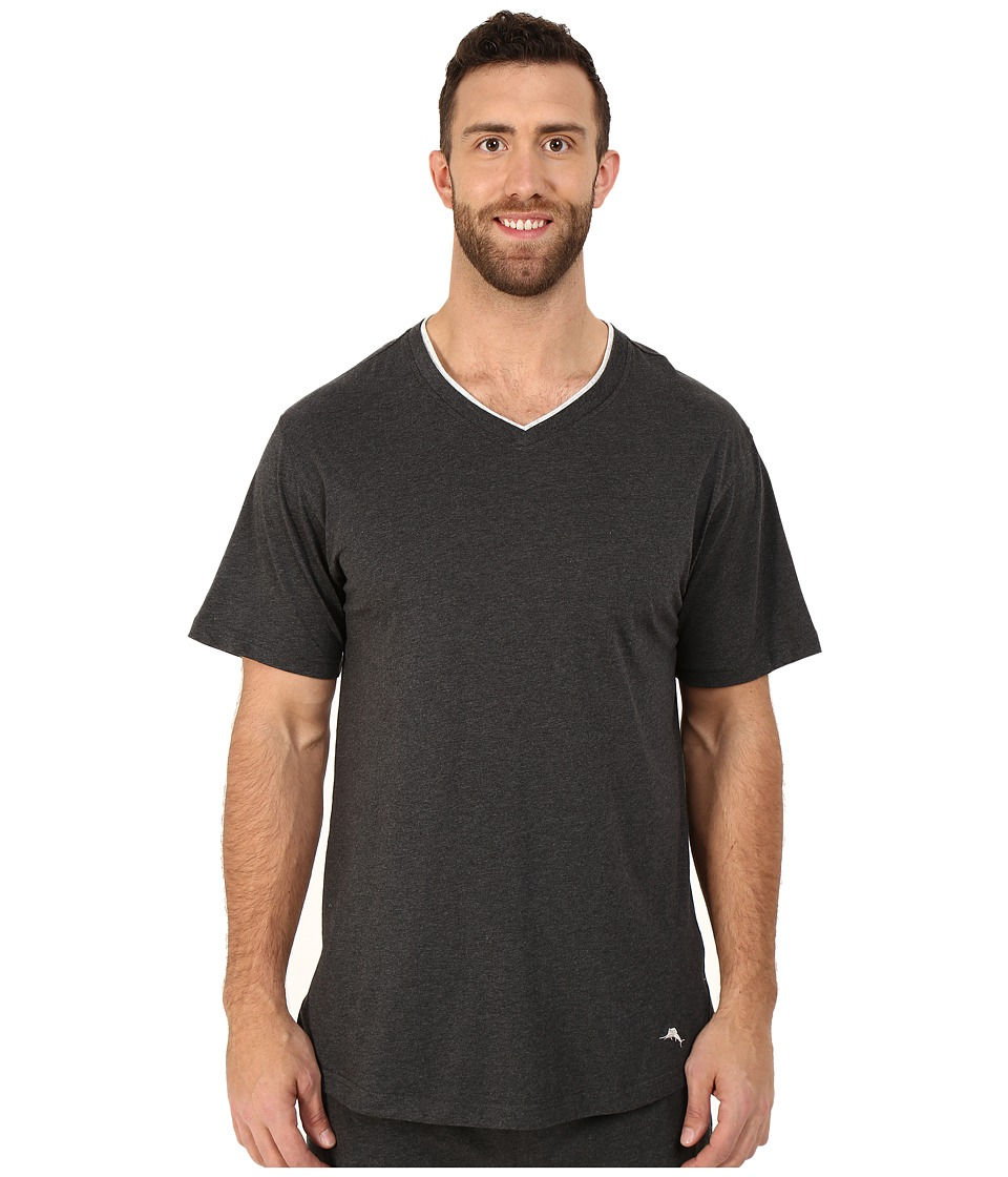 Tommy Bahama - Big Tall Cotton Modal V-Neck Short Sleeve T-Shirt (Black Heather) Men's T Shirt