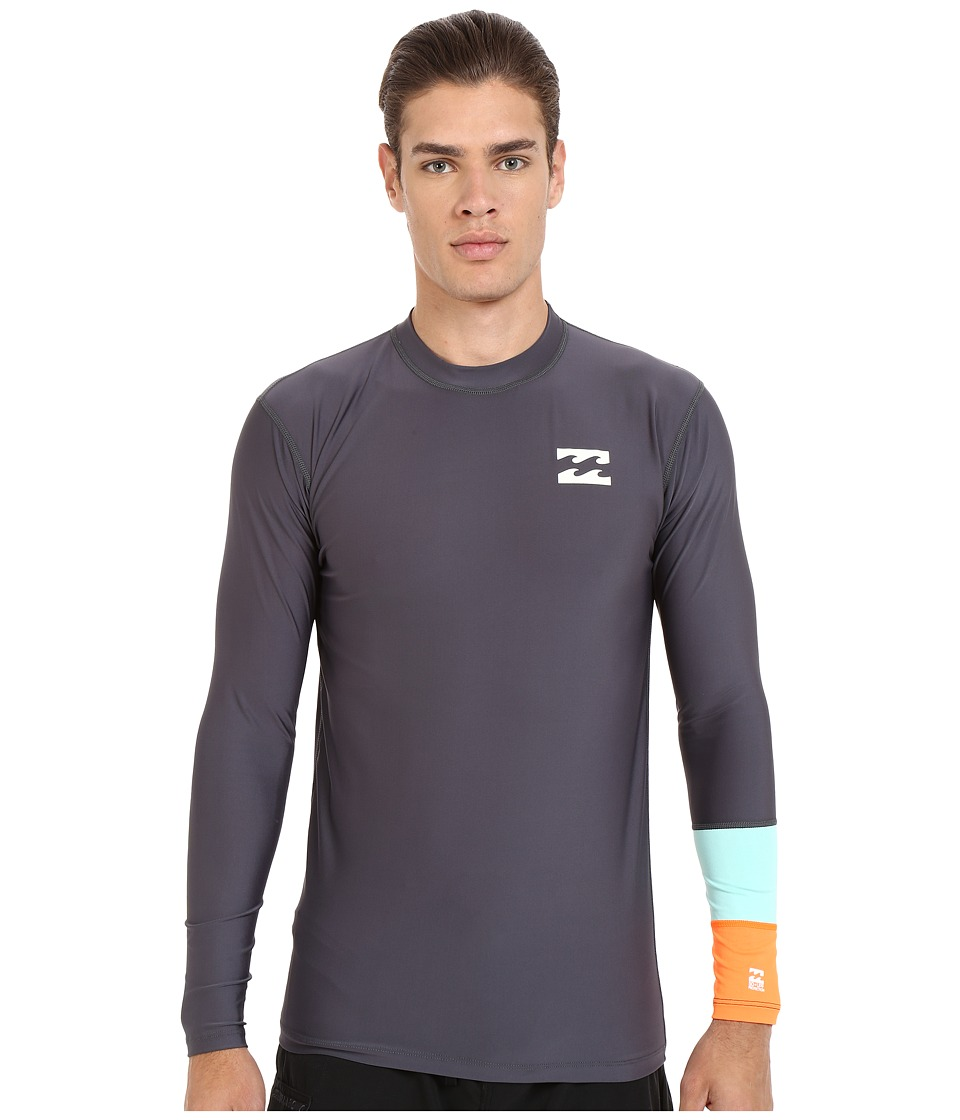 Billabong - Tri Bong Long Sleeve Rashguard (Charcoal) Men's Swimwear