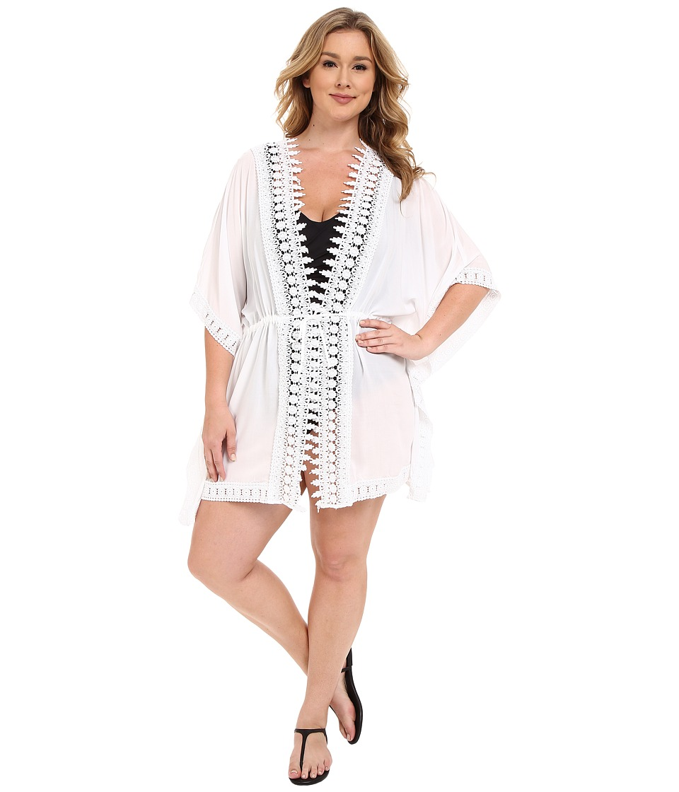 La Blanca - Plus Size Costa Brava Kimono Cover-Up (White) Women's Swimwear